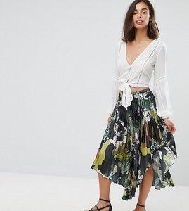 Read more about Asos petite satin pleated midi skirt in camo print - multi