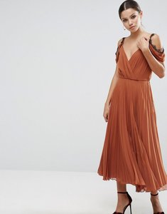 Read more about Asos lace trim pleated midi skater dress - red