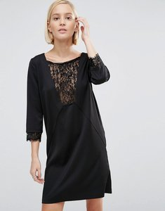 Read more about Minimum shift dress with lace panel - 999 black