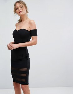 Read more about New look mesh insert bardot bodycon dress - black