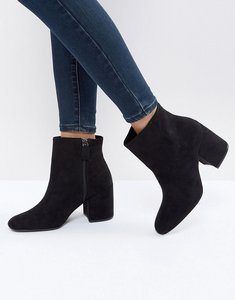 Read more about Bershka suedette high heeled boot - black