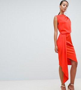 Read more about Asos design tall satin drape midi dress with sash detail - blood orange