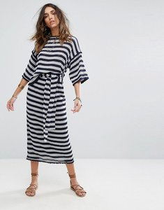 Read more about Moon river stripe knit skirt - navy ivory