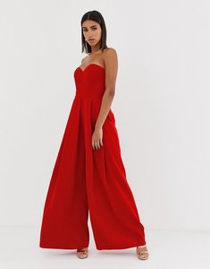 Read more about Bariano sweetheart wide leg maxi jumpsuit in red