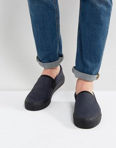 Read more about Asos slip on plimsolls in navy with elastic detail - navy