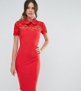 Read more about City goddess tall collared pencil dress with lace yoke - red