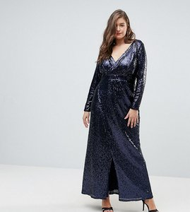 Read more about Tfnc plus wrap over sequin maxi dress - navy