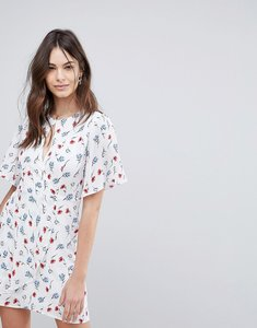 Read more about Fashion union wrap front tea dress in all over floral print - white multi