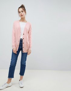 Read more about Asos design boyfriend cardigan in fine knit - blush