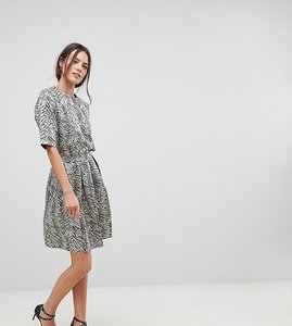 Read more about Y a s tall leaf jacquard full skirt - silver metallic