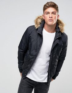 Read more about French connection short padded parka with faux fur hood - navy