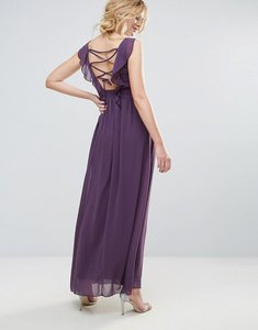 Read more about Little mistress embellished maxi dress with tie back - purple