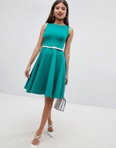 Read more about Closet london sleeveless dress with belt - green