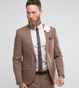 Read more about Heart dagger slim wedding suit jacket in linen mix - brown