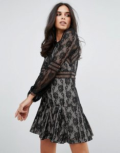 Read more about Forever unique lace long sleeve smock dress - black