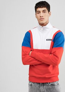 Read more about Ellesse colour block 1 2 zip sweatshirt in red - red