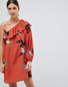 Read more about French connection delphine floral print one shoulder dress - copper coin multi