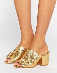 Read more about Asos headliner bow detail mule - gold