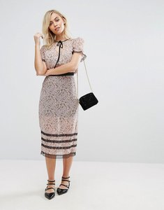 Read more about Fashion union midi skirt in sheer floral - dirty rose