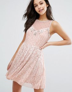Read more about Miss selfridge premium embellished skater dress - nude