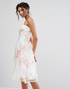 Read more about Elise ryan bandeau midi dress in floral organza - multi