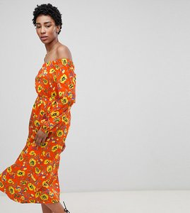 Read more about Asos design tall off shoulder midi dress in red floral - multi