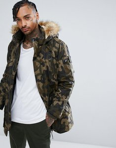 Read more about Bershka parka with detachable hood in khaki camo - khaki
