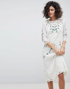 Read more about Intropia hand embroidered lace midi dress - off white