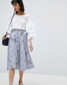 Read more about Esprit floral and stripe midi skirt - multi