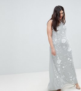 Read more about Frock and frill plus premium all over embellished high neck trophy maxi dress - grey white