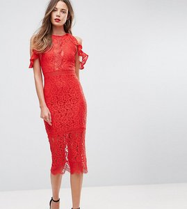 Read more about Naanaa tall lace bodycon midi dress with off shoulder and cut out detail - red