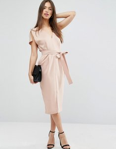 Read more about Asos split sleeve dress with plunge neck and tie belt - pink