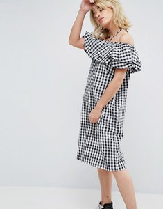 Read more about Chorus gingham halterneck off shoulder ruffle dress - gingham