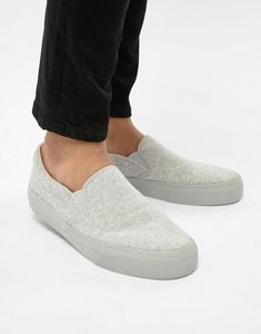 Read more about Asos design slip on plimsolls in grey towelling - grey