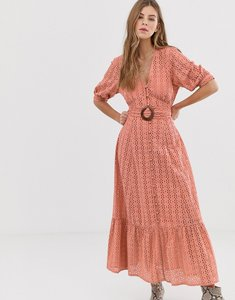 Read more about Asos design broderie pephem maxi dress with wooden belt