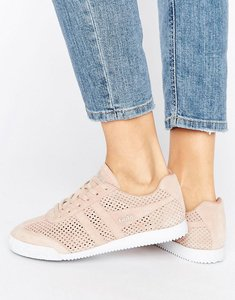 Read more about Gola harrier blush pink perforated suede trainers - pink