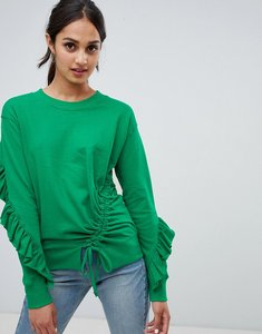 Read more about Miss selfridge frill open back sweater - green