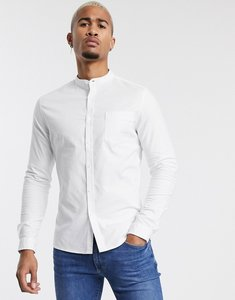 Read more about Asos design smart skinny oxford shirt with grandad collar in white - white