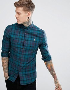 Read more about Farah waithe slim fit check shirt in navy - true navy 412