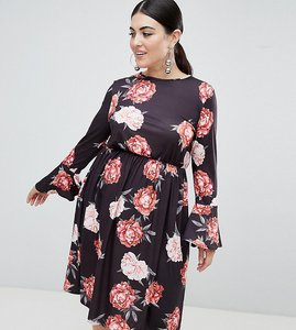 Read more about Club l plus long sleeve rose print dress - black print