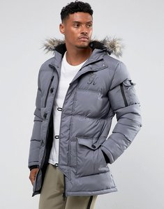 Read more about Gym king puffer parka in grey with faux fur hood - grey
