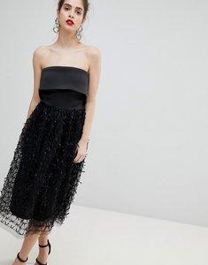Read more about True violet 3d floral bandeau dress - black