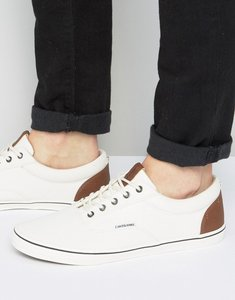 Read more about Jack jones vision canvas plimsolls - cream