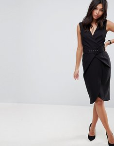 Read more about Asos wrap over midi pencil dress with belt - black