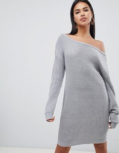 Read more about Missguided off shoulder knitted jumper dress - grey