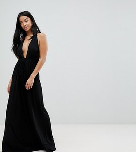 Read more about Asos design petite tie front plunge jersey maxi beach dress - black