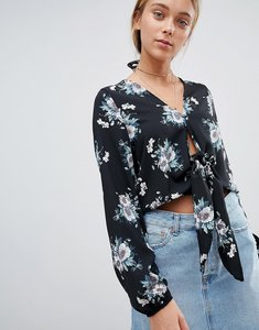 Read more about Gilli floral tie front blouse - black