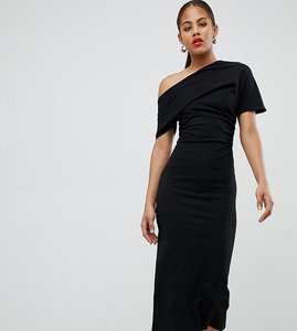 Read more about Asos design tall pleated shoulder pencil dress - black