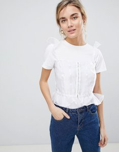 Read more about Asos design corset top in sheer - white