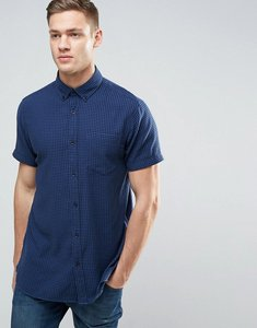 Read more about Jack jones originals short sleeve slim fit shirt in gingham check with pocket - navy blazer